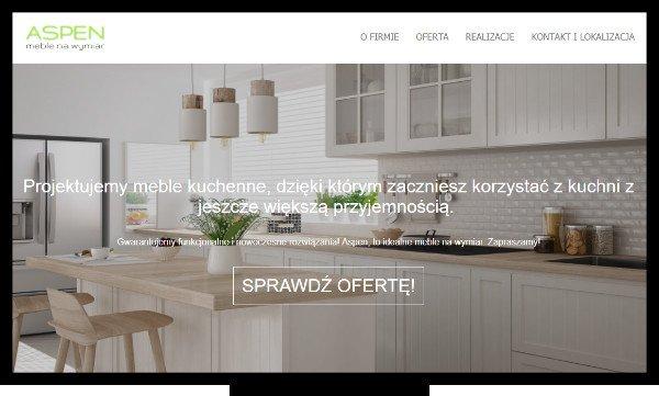 Projektowanie stron Zamość - strona internetowa wykonana dla zamojskiej firmy Aspen Meble, która zajmuje się produkcją mebli kuchennych na wymiar.