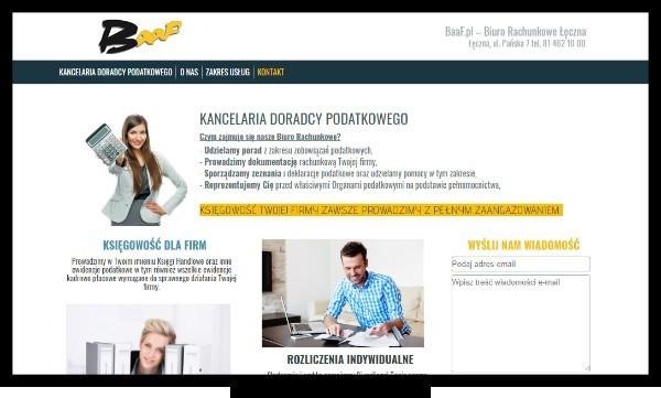 Tworzenie stron Łęczna, Lubartów. Strona internetowa łęczyńskiego biura rachunkowego BAAF