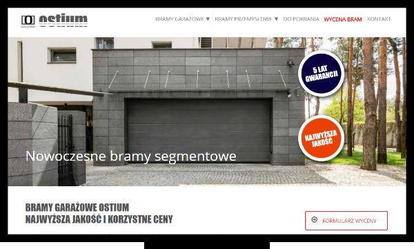 Projektowanie stron internetowych łęczna. Strona internetowa producenta bram segmentowych Ostium - firmy specjalizującej się w produkcji bram garażowych dla domu i przemysłu.