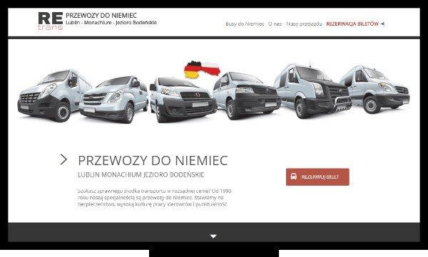 Strony internetowe Lublin. Strona firmy Retrans, zajmującej się przewozem ludzi do Niemiec z Lublina