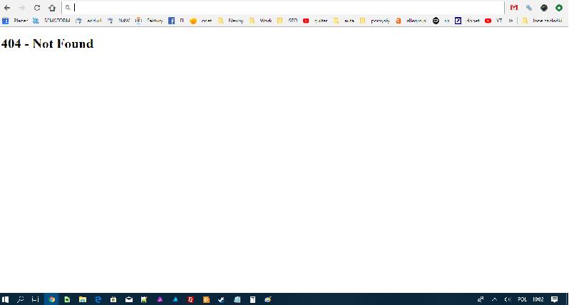 standardowy widok błędu 404 generowanego przez serwer
