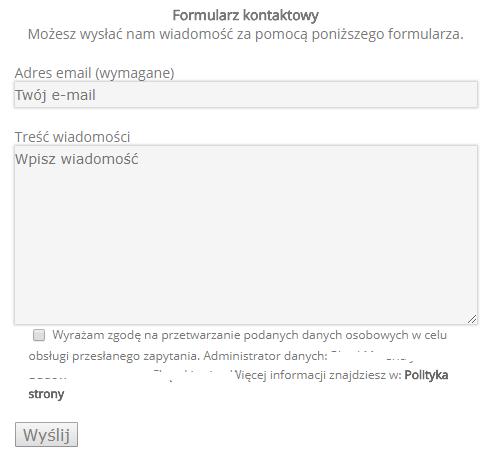 Formularz kontaktowy na stronie