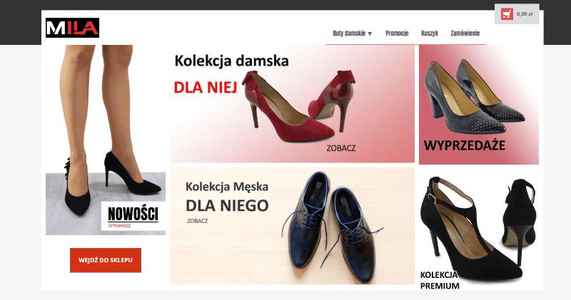 sklepy internetowe Łęczna Lublin - projektowanie i programowanie. Buty Mila